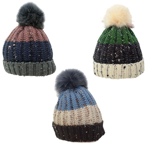 Assortment: 20 pcs Bobble Hat XL Knitted Winter Cap Faux Fur Teddy Fur Unisex
