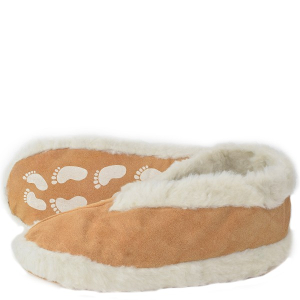 """Indoor Slipper """"Relax"""" Real Leather Faux Fur Lining Anti Slip"""