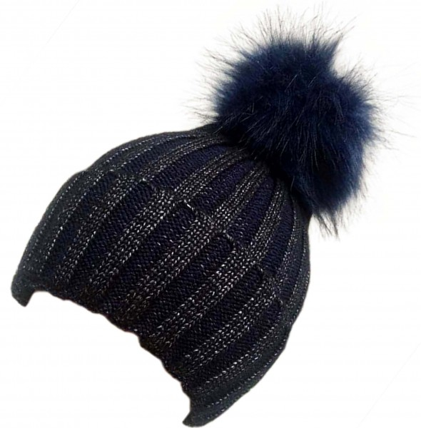 "Bobble Hat ""Metallic"" Silver Yarn Winter Faux Fur Button Closure"