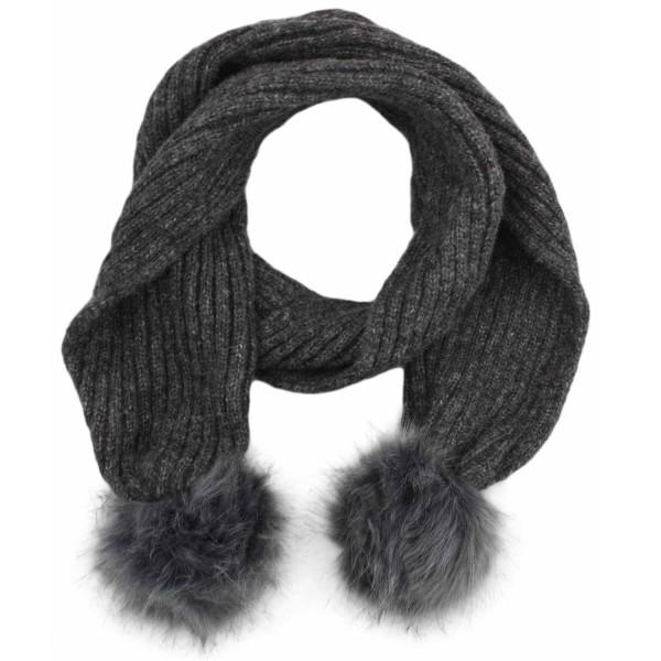 Scarf Faux Fur Bobble Wool Polyacrylic Winter Melange
