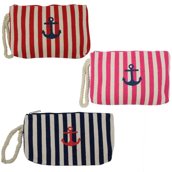 "Assortment: 20 pieces Clutch ""Maritime"" Beautybag Make-Up Bag Stripes Anchor"