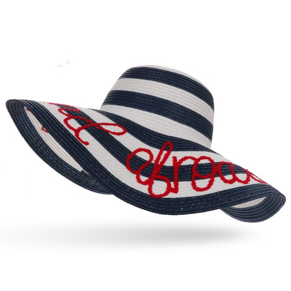 "XXL Straw Hat ""Out and Abroard"" Striped Maritime Embroidered Summer Beach"