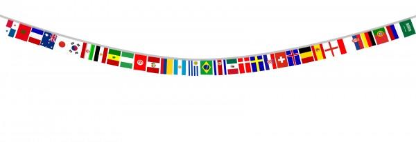 Fahnenkette WM Länder EM Girlande 32 Länder 8,5 Meter Fußball