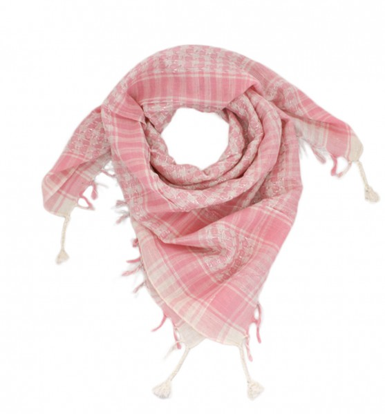 PLO Scarf Fringes Checked Cotton Silver Yarn
