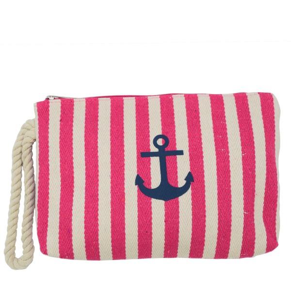 "Clutch ""Maritime"" Beautybag Make-Up Bag Stripes Anchor"
