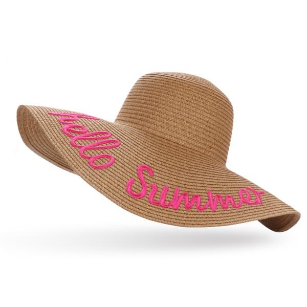 """XXL Straw Hat """"Hello Summer"""" Ladies Summer Hat Headgear Beach"""