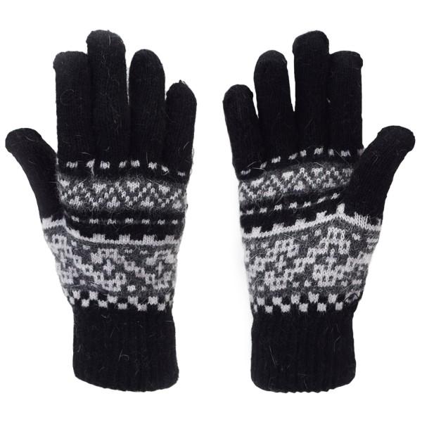 Gloves Knit Design Angora Wool Black