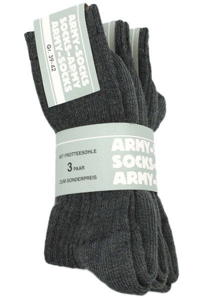 """3 Pairs Wool Socks """"Army Look"""" Unisex Grey"""
