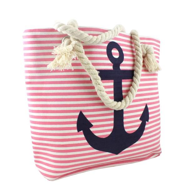 Strandtasche mit Ankermotiv Beachbag Shopper Streifen Maritim