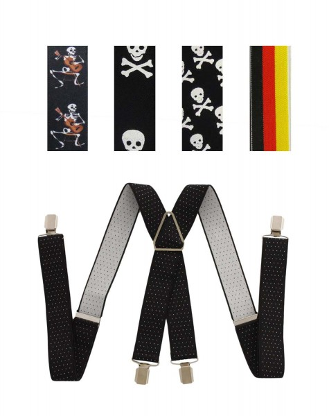 "Assortment: 20 pieces Suspenders ""Retro"" 4 Clips Premium Skull Germany Flag Party"