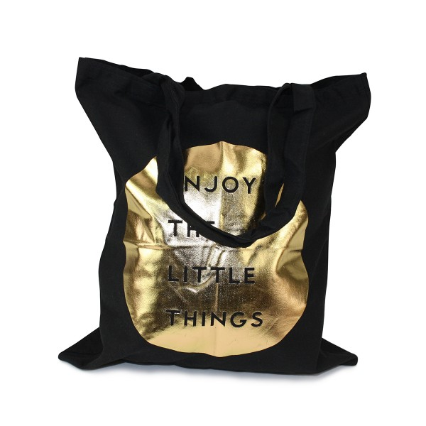 "Carrying Bag ""Enjoy the little things"" Cotton Golden Print"