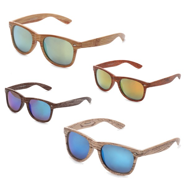 "Sale: 12 Sunglasses ""Wooden Classic"" Mirrored Glasses Summer"