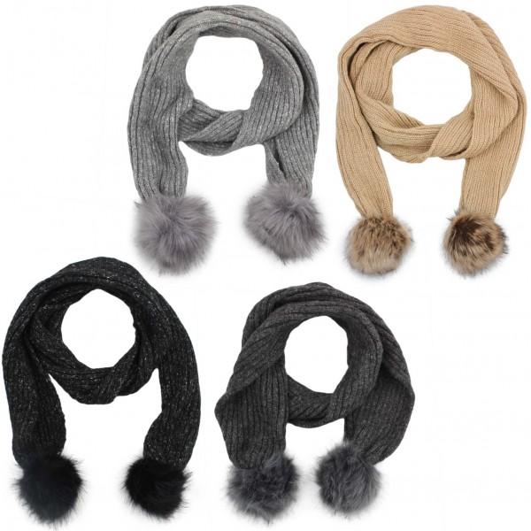 Aktionssortiment: 10 Stück Schal Kunstfell Bommel Wolle Polyacryl Meliert Winter