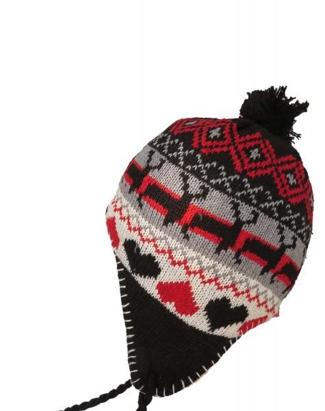 "Knitted Cap ""Elk"" Winter Heart Hat lining"