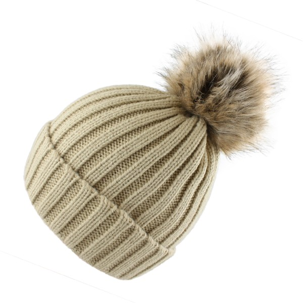 Bobble Hat Knit Button Closing Faux Fur Winter Cap