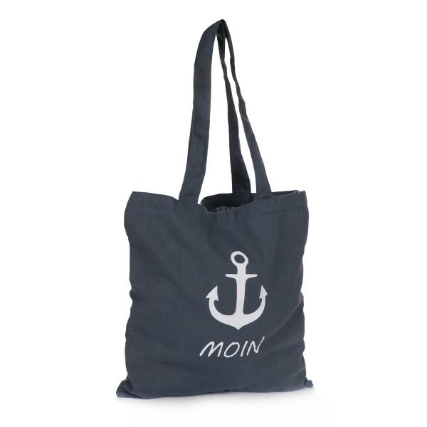 "Jute Bag ""Moin"" Carrying Maritime Anchor Print"
