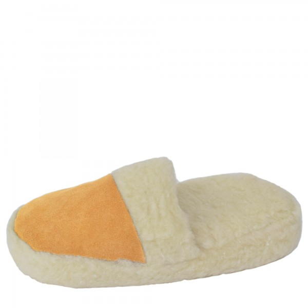 "Slipper ""Eskimo"" Real Leather Faux Fur Lining Inlay Beige"