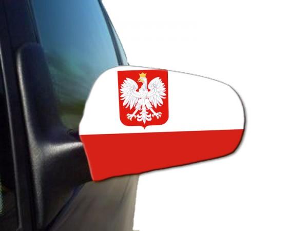 "Auto Außenspiegel Fahne Set ""Polen Wappen"" Poland Polska Bikini Flagge EM WM"