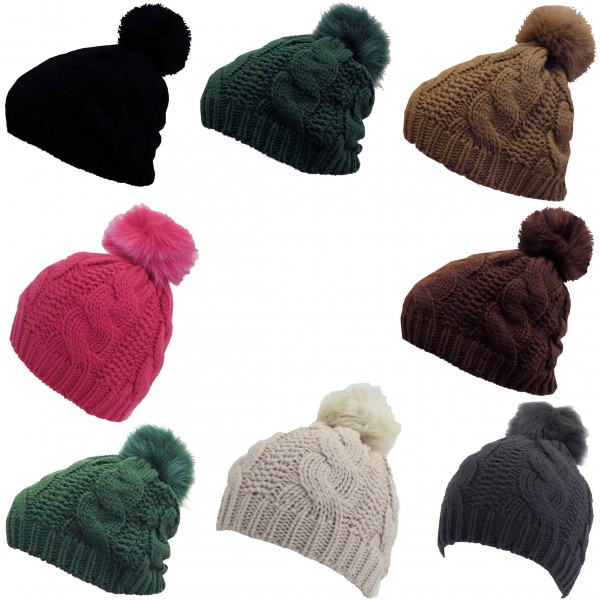 Assortment: 10 pieces Knitted hap Real Fur Fox Winter Hat Wool