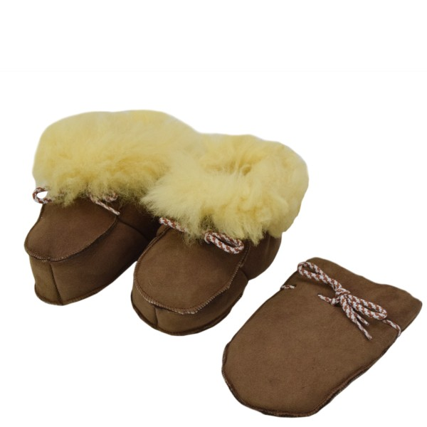 """Baby Indoor Slipper """"Snow Bell"""" Real Sheep Skin Leather Lamb Fur"""