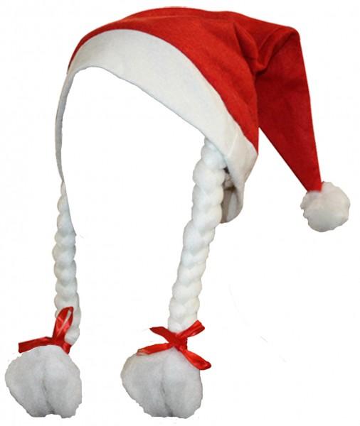 """5er SET Weihnachtsmütze """"Classic Frauen"""" Zöpfe Santa"""