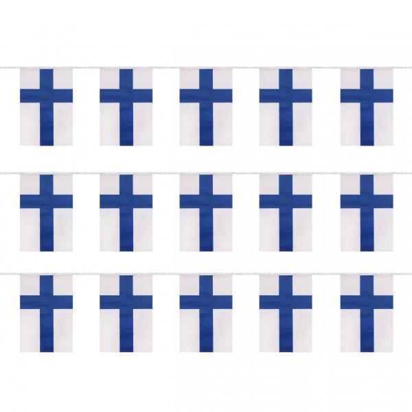 """Fahnenkette """"Finnland"""" Finland Fußball EM Girlande 16 Fähnchen 4,5m Deko"""