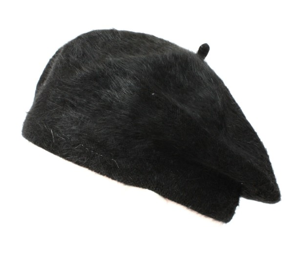 Beret Hat Angora Wool Women Winter black