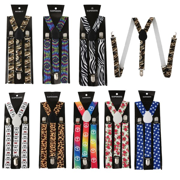 "Aktionssortiment: 30 pieces Suspenders ""Fashion"" 3 Party Designs Army Leo Stars Peace"