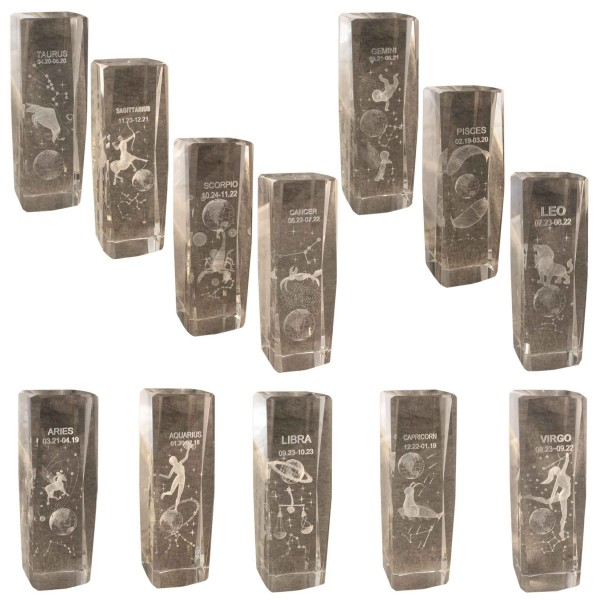 "Assortment: 20 pcs Crystal Dice ""Star Sign"" 3D Glass Decoration"