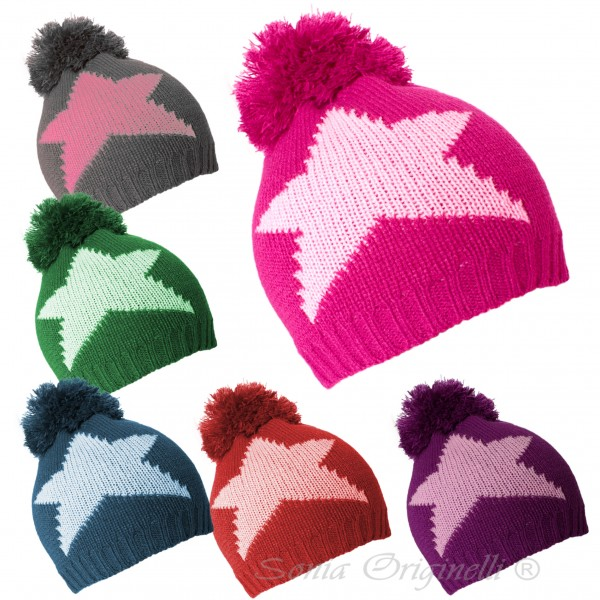 "Assortment: 20 pieces Kids Bobble Hat ""Stars"" Winter Hat Uni"