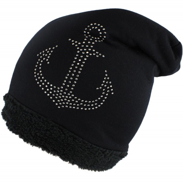 "Fleece Beanie ""Anchor Rhinestones"" Teddy fur Winter Cap"