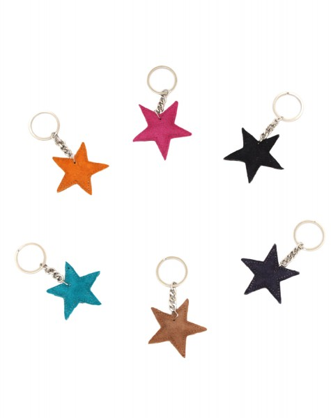 "Key Chain ""Star"" Keyring Leather Plain"