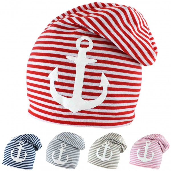 "Assortment: 50 pcs Fleece Beanie ""Anchor"" Stripes Maritime Cap Winter Unisex"