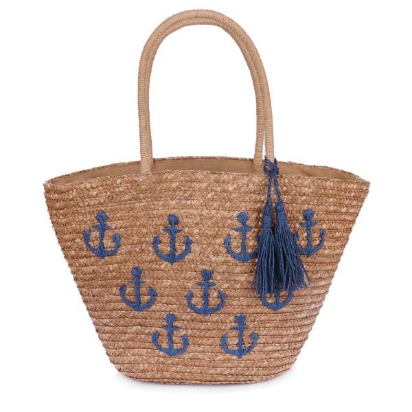 "Basket Bag ""Mini Anchor"" Embroidery Tassel Shopper Summer"