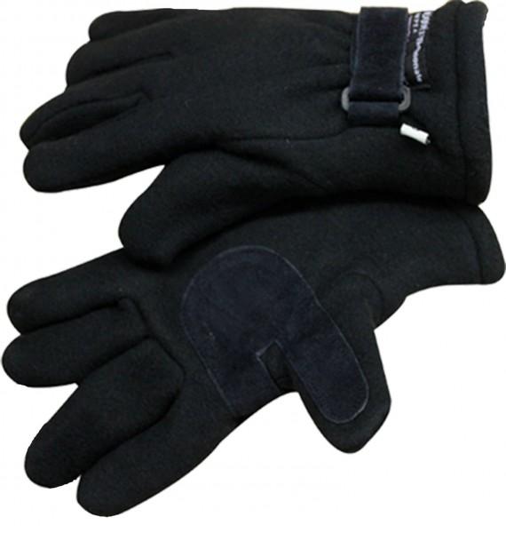 Handschuhe Winter Finger Fleece Schwarz Klettverschluss