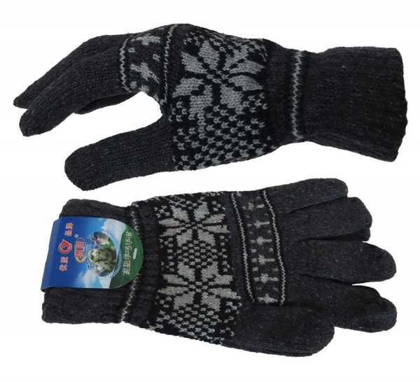 Assortment 12 Pairs Knitted Gloves Winter Snowflakes Unisex