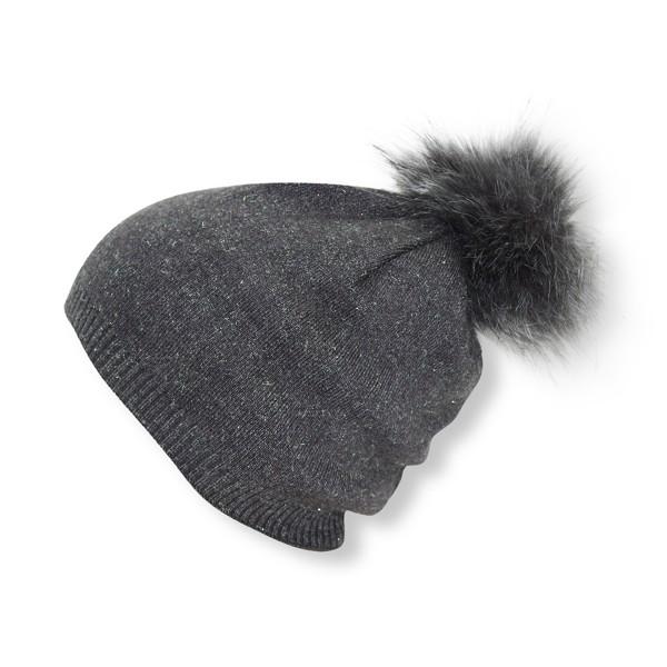 Kids Winter Beanie Hat Glittering Fiber Faux Fur Pompom