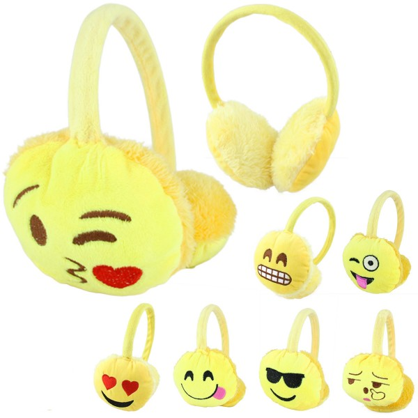 "Assortment: 20 pieces Ear Muff ""Smiley"" Phone Unisex Faces Winter"