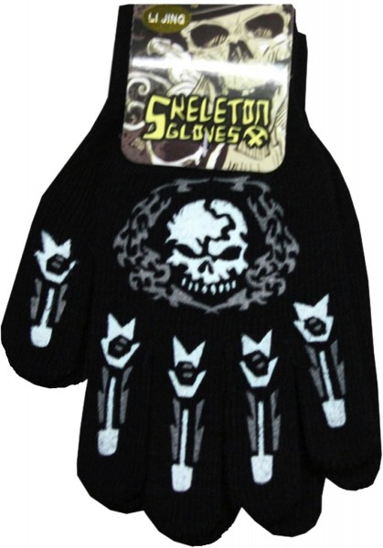 Sortiment 12 Paar Strickhandschuhe Halloween Druck Totenkopf Kostüm Unisex