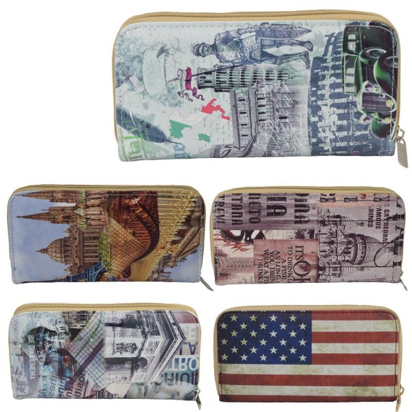 "Sale: 10 Wallets ""Collage"" Women Purse Print"