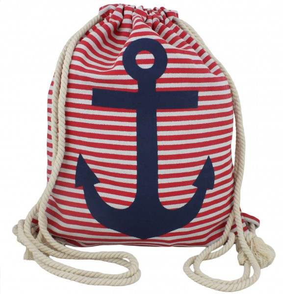 "Backpack ""Finn"" Anchor Stripes Gymbag Bag"