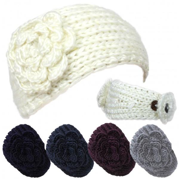 "Assortment: 20 pieces Ladies Headband ""Flower"" Knit Winter"