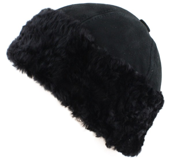 Hat Winter Round Black Lambfur Unisex