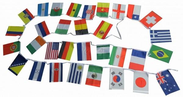 Fahnenkette WM EM Girlande 32 Länder Party 10,5m Fußball
