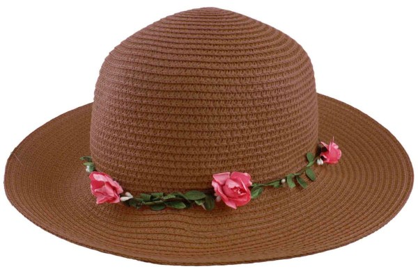 "Beach Hat ""Flowers"" Straw Hat Floral Women"