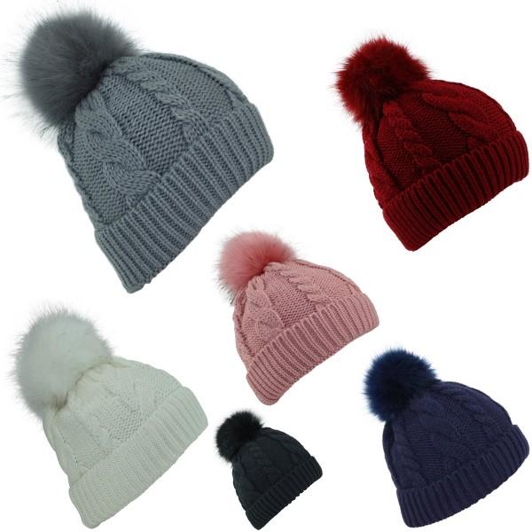 Assortment: 20 pcs Winter Beanie Cable Knit XL Pompom Teddyfur