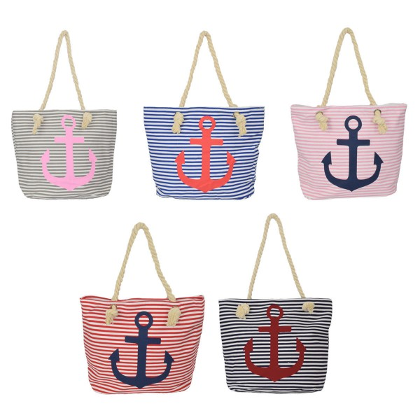 Assortment: 20 pcs Beachbag Anchor and Star Zipper Shopper