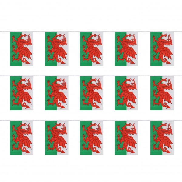"""Fahnenkette """"Wales"""" Fußball EM Girlande 16 Fähnchen 4,5m Deko"""