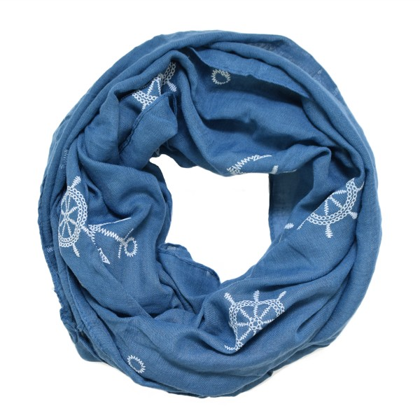 "Scarf Loop ""Maritime Wheel Anchor"" High Print Summer"