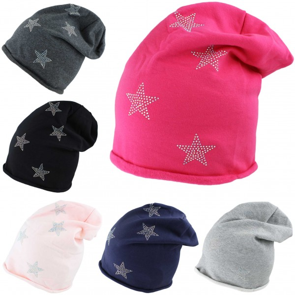 "Assortment: 20 pcs Fleece Beanie ""Mini Stars Anchor Fleece"" Hat Rhinestones Premium"